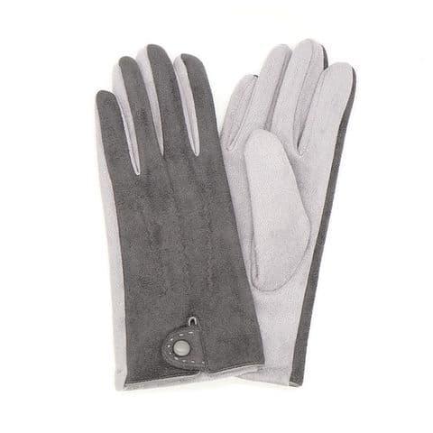POM Peace Of Mind Button Cuff Faux Suede Gloves in Dark Grey