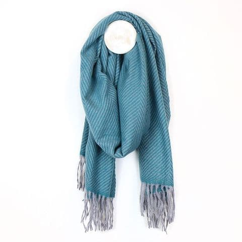 POM Peace Of Mind Chevron Pattern Winter Scarf with Tassel Fringe in Teal Blue and Grey