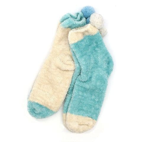 POM Peace Of Mind Cosy Chenille Socks Duo with Pom Poms in Green and Cream