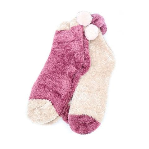 POM Peace Of Mind Cosy Chenille Socks Duo with Pom Poms in Pink and Cream