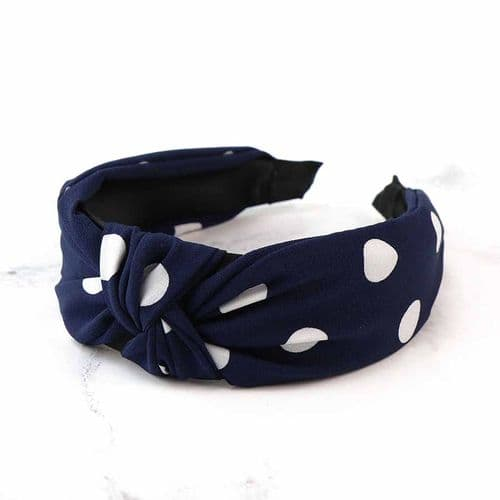 POM Peace Of Mind Dotty Headband in Navy and White