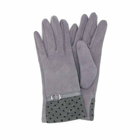 POM Peace Of Mind Faux Suede Dotty Cuff Gloves in Grey