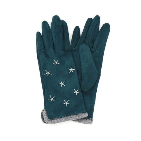 POM Peace Of Mind Faux Suede Star Gloves in Teal and Grey