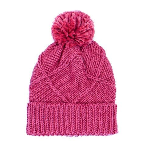 POM Peace Of Mind Knitted Bobble Hat with Knitted Pom-Pom in Deep Pink