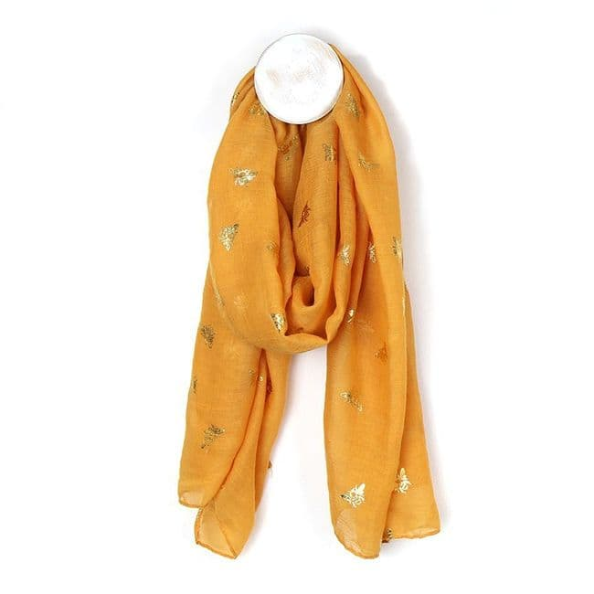 POM Peace Of Mind Mustard Yellow Scarf with Golden Bee Print