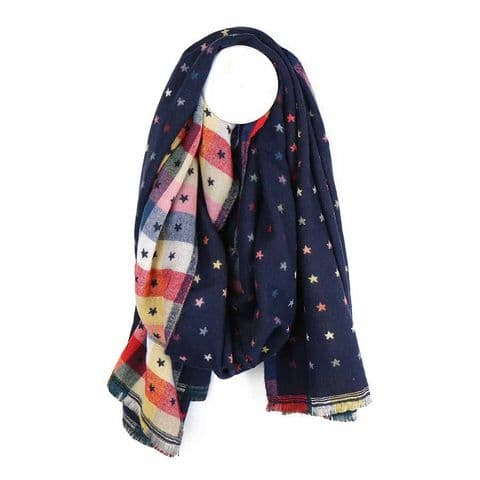 POM Peace Of Mind Reversible Scarf with Little Jacquard Stars in Navy Blue and Multi Check