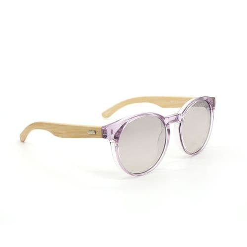 POM Peace Of Mind Translucent Lilac Sunglasses with Bamboo Arms