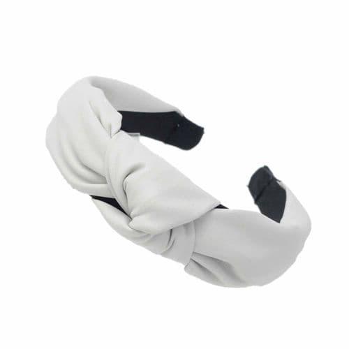 Pretty Litte Handmade Grey Leather Twist Headband