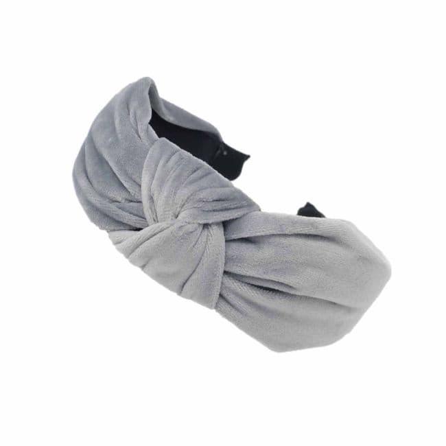 Pretty Litte Handmade Grey Velvet Twist Headband