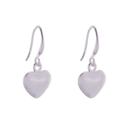 Simple Heart Charm Drop Earrings in Silver