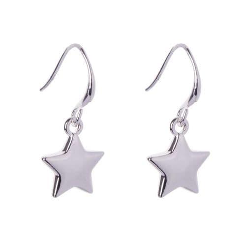 Simple Star charm Drop Earrings in Silver