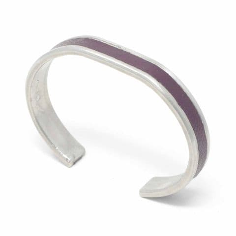 Sobo & Co Jewellery 10mm Straight End Bangle with Burgundy Leather Inlay