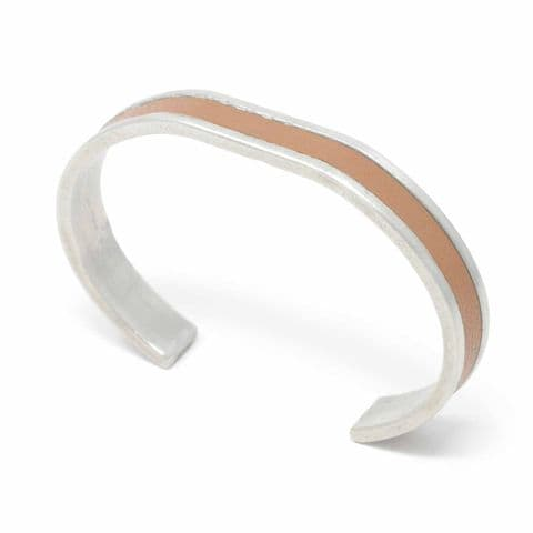 Sobo & Co Jewellery 10mm Straight End Bangle with Tan Leather Inlay