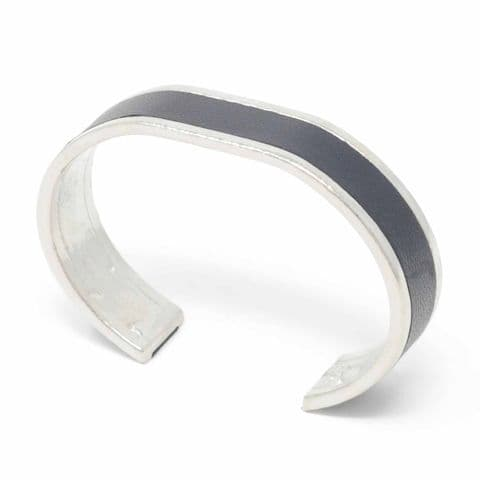 Sobo & Co Jewellery 15mm Straight End Bangle with Black Leather Inlay
