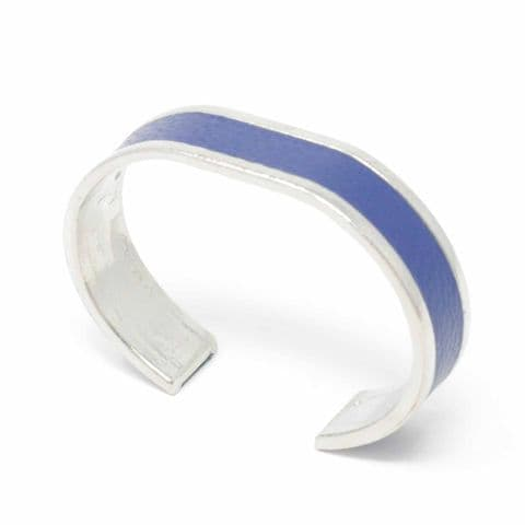 Sobo & Co Jewellery 15mm Straight End Bangle with Blue Leather Inlay