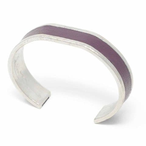 Sobo & Co Jewellery 15mm Straight End Bangle with Burgundy Leather Inlay