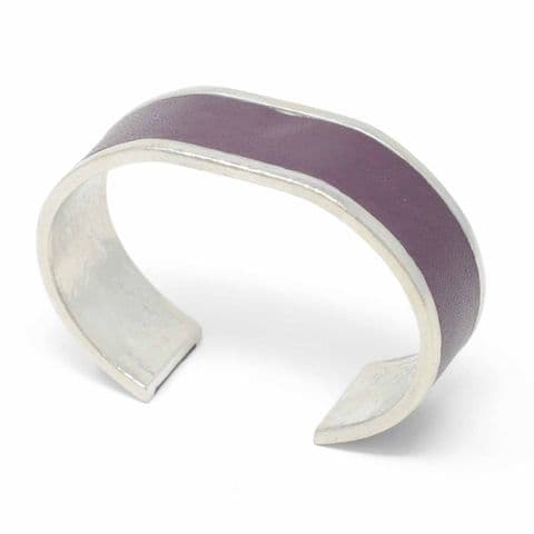 Sobo & Co Jewellery 20mm Straight End Bangle with Burgundy Leather Inlay