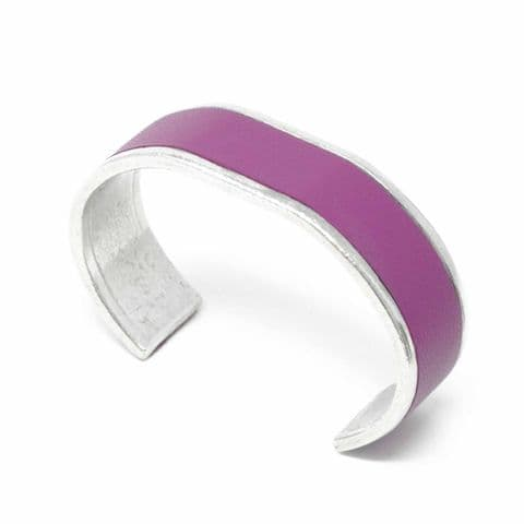 Sobo & Co Jewellery 20mm Straight End Bangle with Grape Leather Inlay