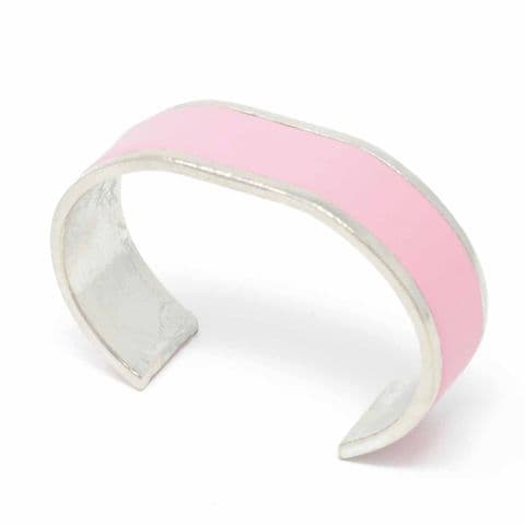 Sobo & Co Jewellery 20mm Straight End Bangle with Pink Leather Inlay