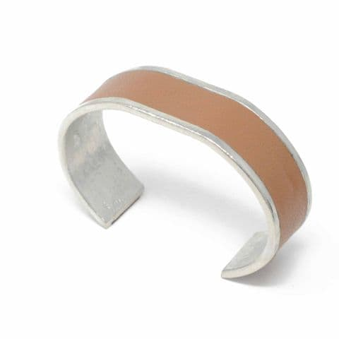 Sobo & Co Jewellery 20mm Straight End Bangle with Tan Leather Inlay