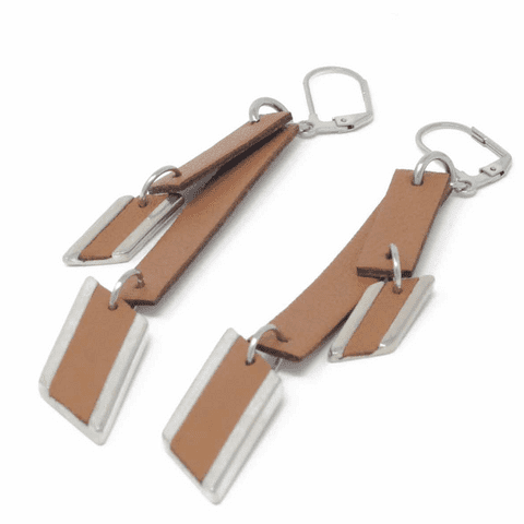 Sobo & Co Jewellery Diamond Feature Drop Earrings with Leather Inlay and Double Tan Leather