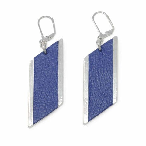 Sobo & Co Jewellery Large Diamond Feature Drop Earrings with Blue Leather Inlay