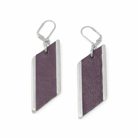 Sobo & Co Jewellery Large Diamond Feature Drop Earrings with Burgundy Leather Inlay
