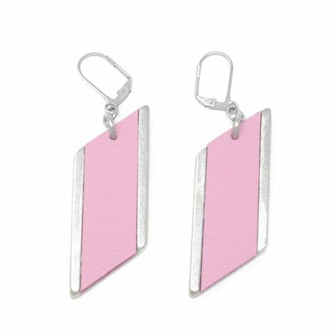 Sobo & Co Jewellery Large Diamond Feature Drop Earrings with Pink Leather Inlay