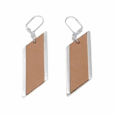 Sobo & Co Jewellery Large Diamond Feature Drop Earrings with Tan Leather Inlay