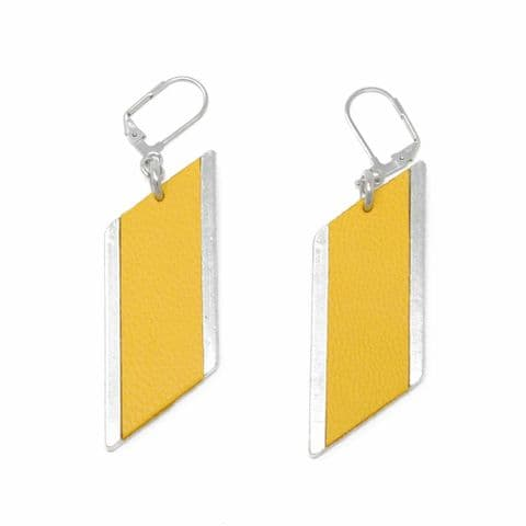 Sobo & Co Jewellery Large Diamond Feature Drop Earrings with Yellow Leather Inlay