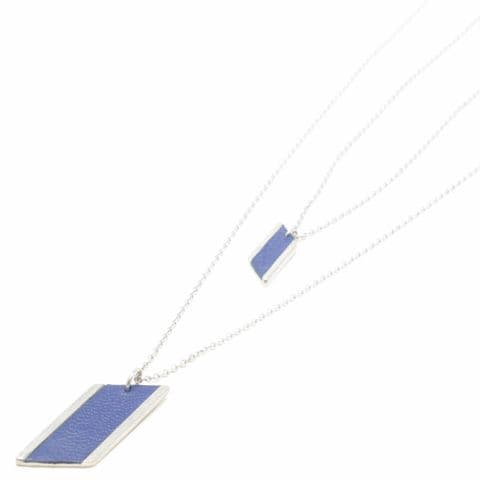 Sobo & Co Jewellery Long Double Chain Diamond Feature Necklace with Blue Leather Inlay