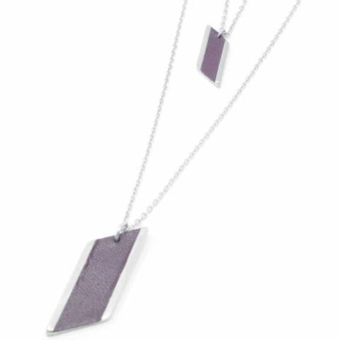 Sobo & Co Jewellery Long Double Chain Diamond Feature Necklace with Burgundy Leather Inlay