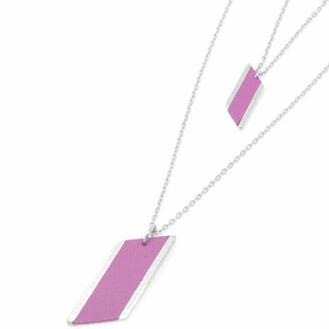 Sobo & Co Jewellery Long Double Chain Diamond Feature Necklace with Grape Leather Inlay