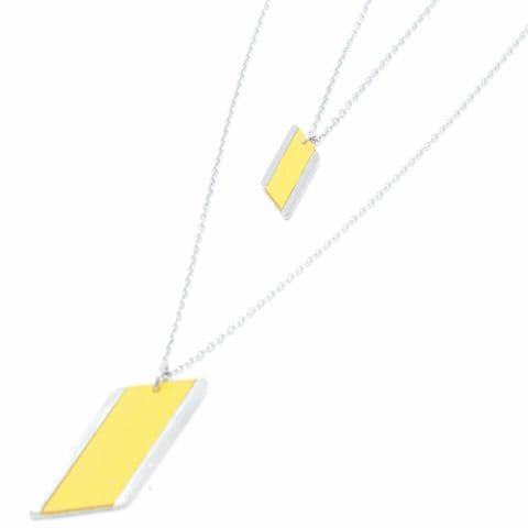 Sobo & Co Jewellery Long Double Chain Diamond Feature Necklace with Yellow Leather Inlay