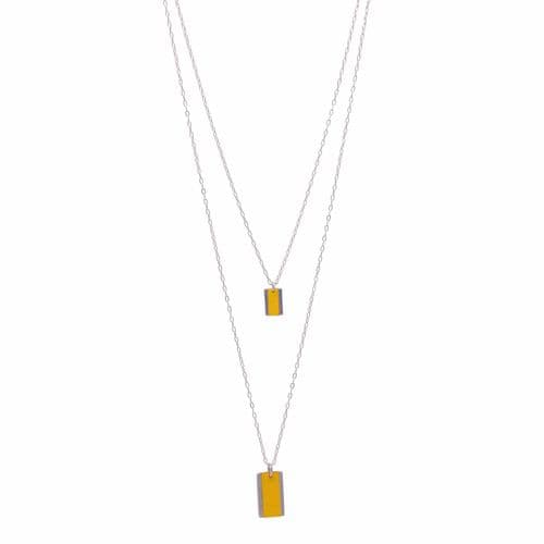 Sobo & Co Jewellery Long Double Chain Rectangle Feature Necklace with Yellow Leather Inlay