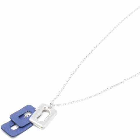 Sobo & Co Jewellery Long Necklace with Medium Ring Feature and Double Blue Leather Pendant