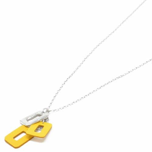Sobo & Co Jewellery Long Necklace with Medium Ring Feature and Double Yellow Leather Pendant