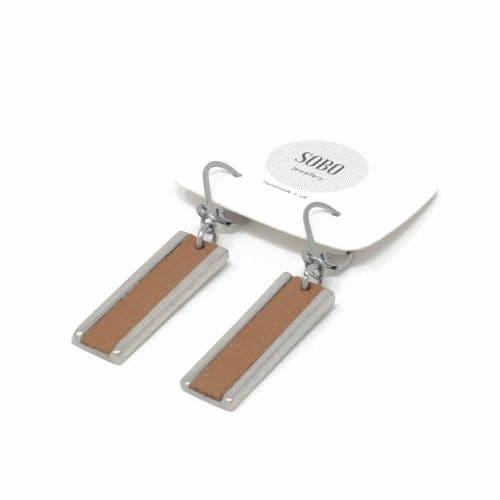 Sobo & Co Jewellery Long Rectangle Drop Earrings with Tan Leather Inlay
