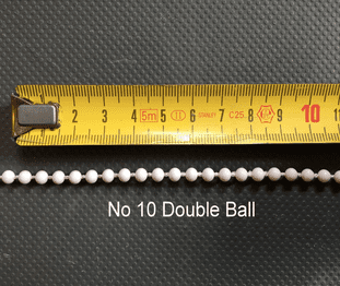 No.10 double ball White control chain (sold by the metre)