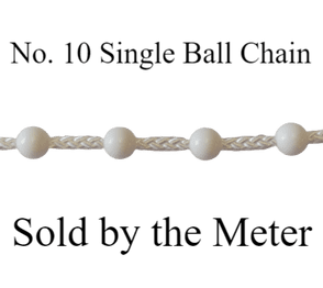 No.10 single ball White control chain (sold by the metre)