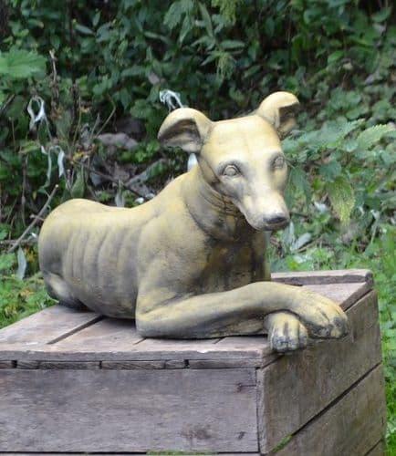 'Belle' Whippet lying down dog statue