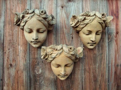 'Melody' Art Nouveau female face Set of 3 wall plaques