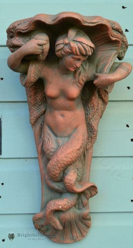 Mermaid Corbel Plinth decorative wall plaque