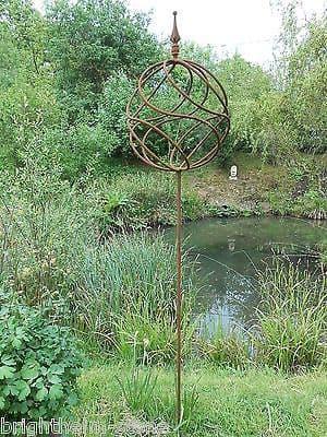 Metal Ball on Post garden sculpture