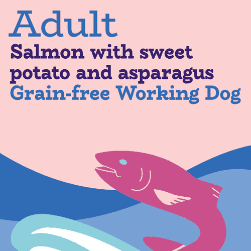 Salmon, trout and sweet potato with asparagus grain free working dog food