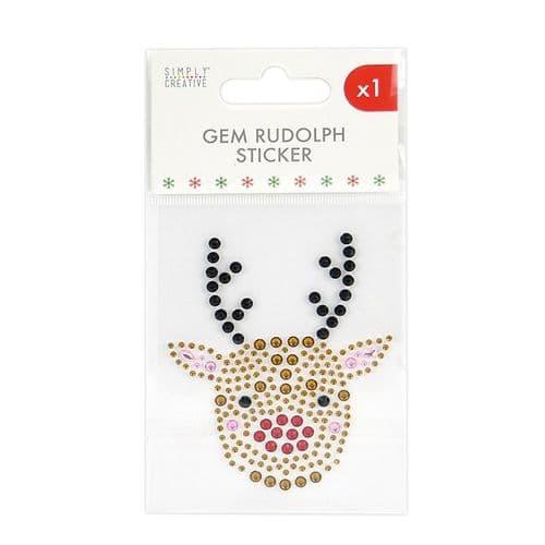Christmas Gem Sticker - Rudolph