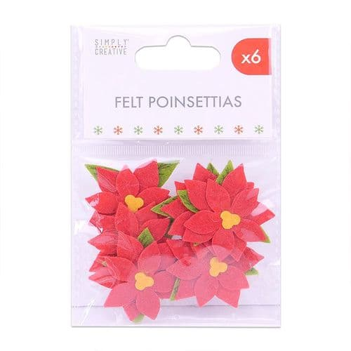 Felt Poinsettias - 6 Pieces