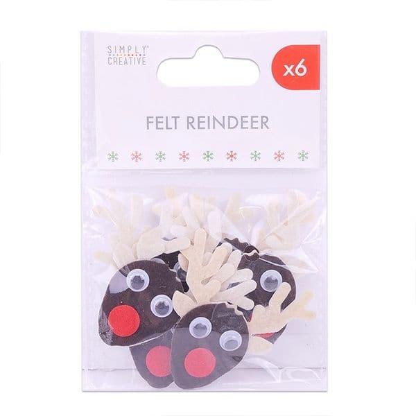 Felt Reindeer - 6 Pieces