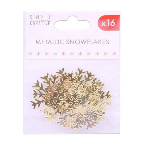 Metallic Gold Snowflakes - 16 Pieces