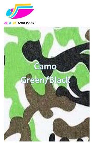 Metallic Patterned HTV :- Camo Green / Black